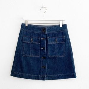 Gap Front Button Denim Mini Skirt